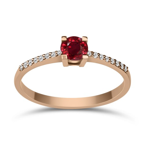 Solitaire ring 18K pink gold with ruby 0.25ct and diamonds VS1, H da3859