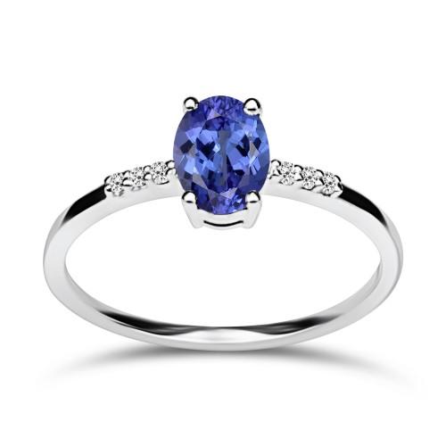 Multistone ring 18K white gold with tanzanite 0.62ct and diamonds, VS1, H da3860