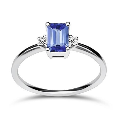 Multistone ring 18K white gold with tanzanite 0.60ct and diamonds, VS1, H da3861