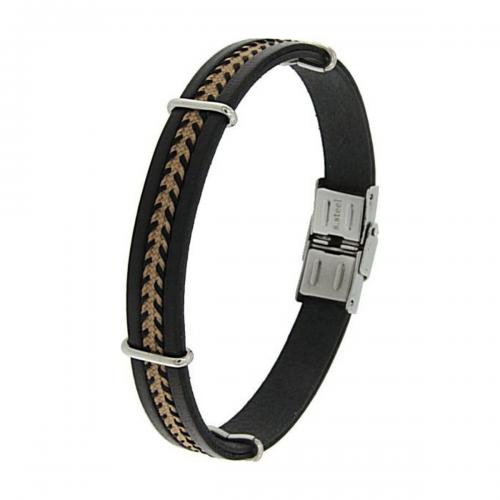 Men's steel and leather bracelet, Jools, br2134