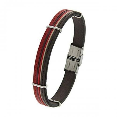 Men's steel and leather bracelet, Jools,  br2339