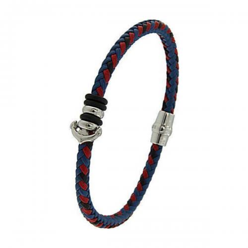 Men's steel and leather bracelet, Jools, br2341