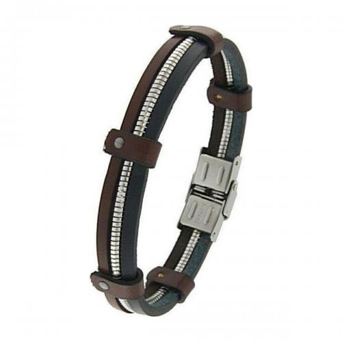 Men's steel and leather bracelet, Jools, br2342