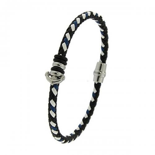 Men's steel and leather bracelet, Jools, br2343