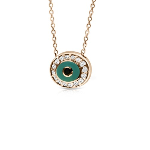 Eye necklace, Κ14 pink gold with zircon and enamel, ko4263 NECKLACES Κοσμηματα - chrilia.gr