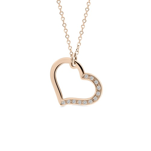 Heart necklace, Κ14 pink gold with diamonds 0.05ct, VS2, H ko4375 NECKLACES Κοσμηματα - chrilia.gr