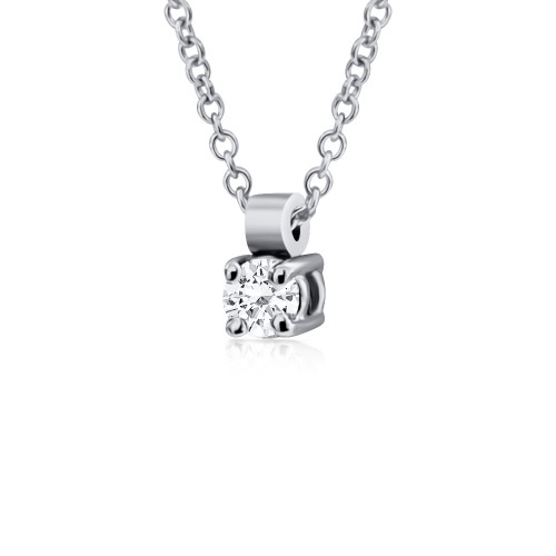 Solitaire necklace 18K white gold with diamond 0.07ct, VVS1, H ko5078