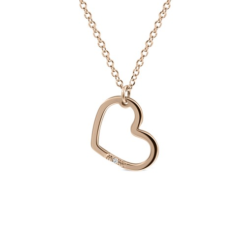 Heart necklace, Κ14 pink gold with diamond 0.005ct, VS2, H ko4717 NECKLACES Κοσμηματα - chrilia.gr