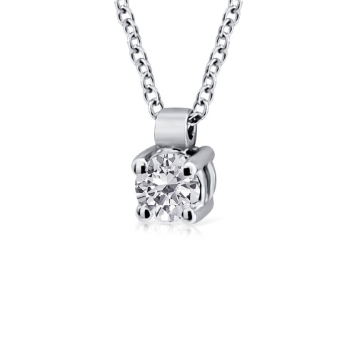 Solitaire necklace 18K white gold with diamond 0.10ct, VVS1, G ko5079