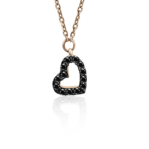 Heart necklace, Κ9 pink gold with black zircon, ko4939 NECKLACES Κοσμηματα - chrilia.gr