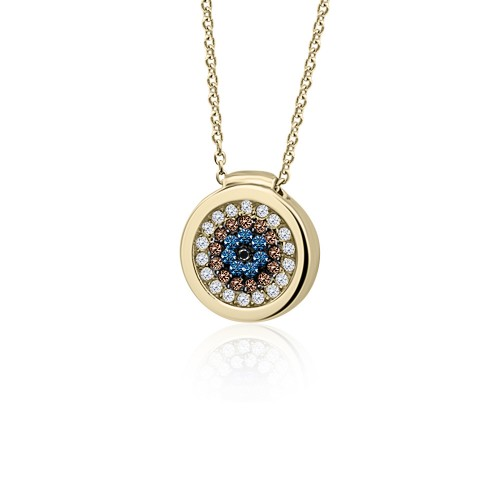 Eye necklace, Κ9 gold with white, brown, blue and black zircon, ko3779 NECKLACES Κοσμηματα - chrilia.gr