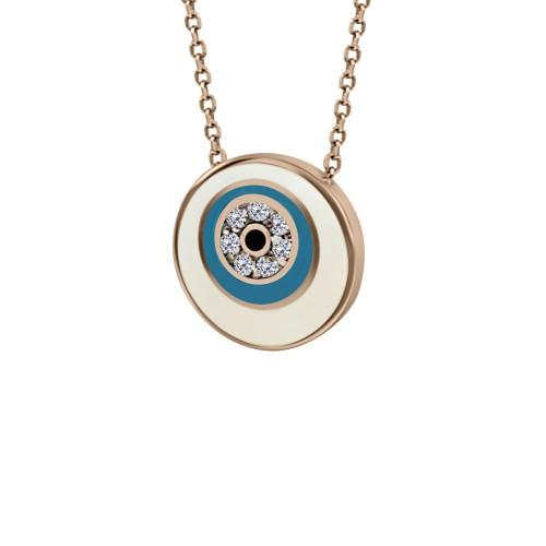 Eye necklace, Κ9 pink gold with zircon and enamel, ko4924 NECKLACES Κοσμηματα - chrilia.gr