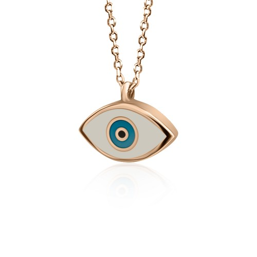 Eye necklace, Κ9 pink gold with enamel, ko4927 NECKLACES Κοσμηματα - chrilia.gr