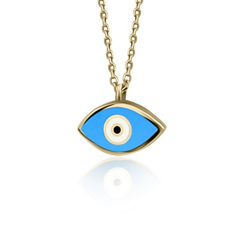 Eye necklace, Κ9 gold with enamel, ko4928 NECKLACES Κοσμηματα - chrilia.gr
