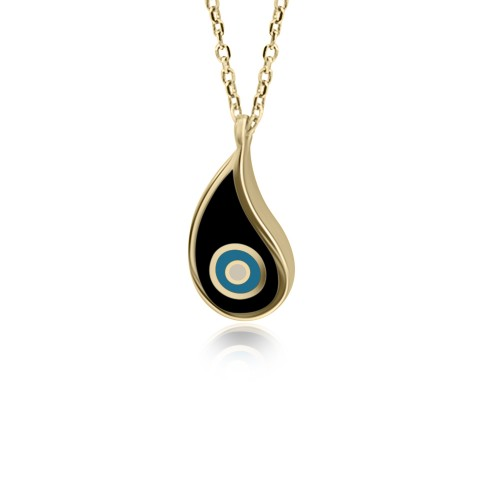 Eye necklace, Κ9 gold with enamel, ko4930 NECKLACES Κοσμηματα - chrilia.gr