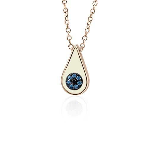 Eye necklace, Κ9 pink gold with blue, black zircon and enamel, ko4931 NECKLACES Κοσμηματα - chrilia.gr