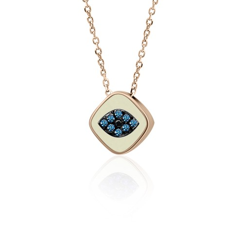 Eye necklace, Κ9 pink gold with blue, black zircon and enamel, ko4936 NECKLACES Κοσμηματα - chrilia.gr