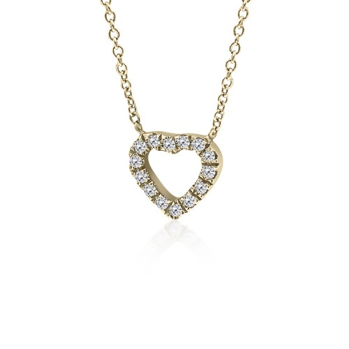 Heart necklace, Κ18 gold with diamonds 0.05ct, VS2, H ko5074