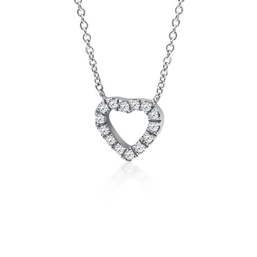 Heart necklace, Κ18 white gold with diamonds 0.05ct, VS2, H ko5075