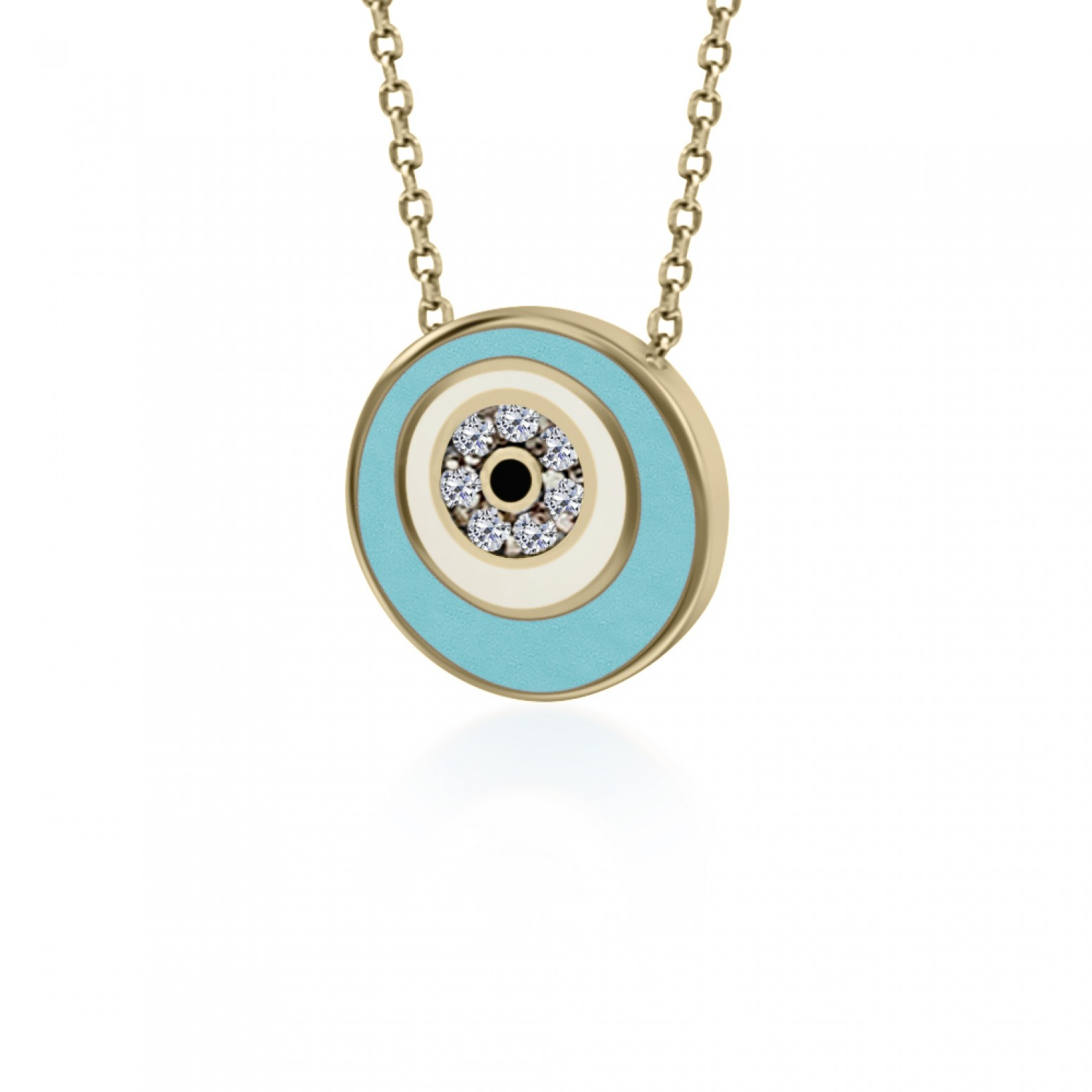 Eye necklace, Κ9 pink gold with zircon and enamel, ko5080 NECKLACES Κοσμηματα - chrilia.gr