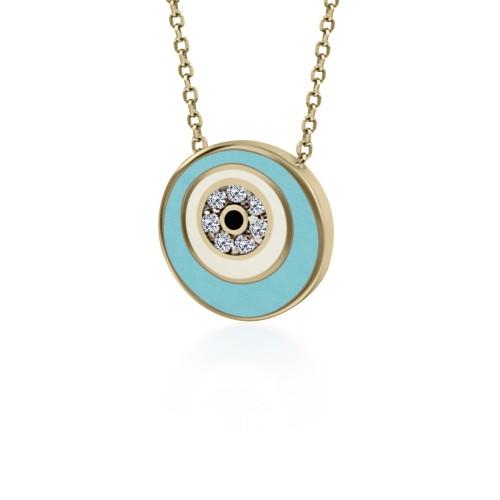 Eye necklace, Κ9 pink gold with zircon and enamel, ko5080 NECKLACES Κοσμηματα - chrilia.gr