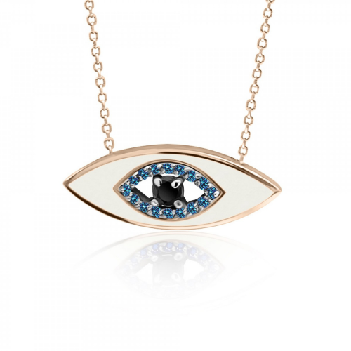 Eye necklace, Κ9 pink gold with blue, black zircon and enamel, ko4979 NECKLACES Κοσμηματα - chrilia.gr
