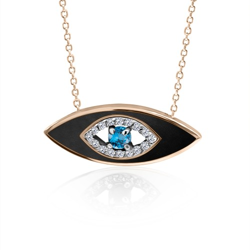 Eye necklace, Κ9 pink gold with blue, white zircon and enamel, ko5023 NECKLACES Κοσμηματα - chrilia.gr
