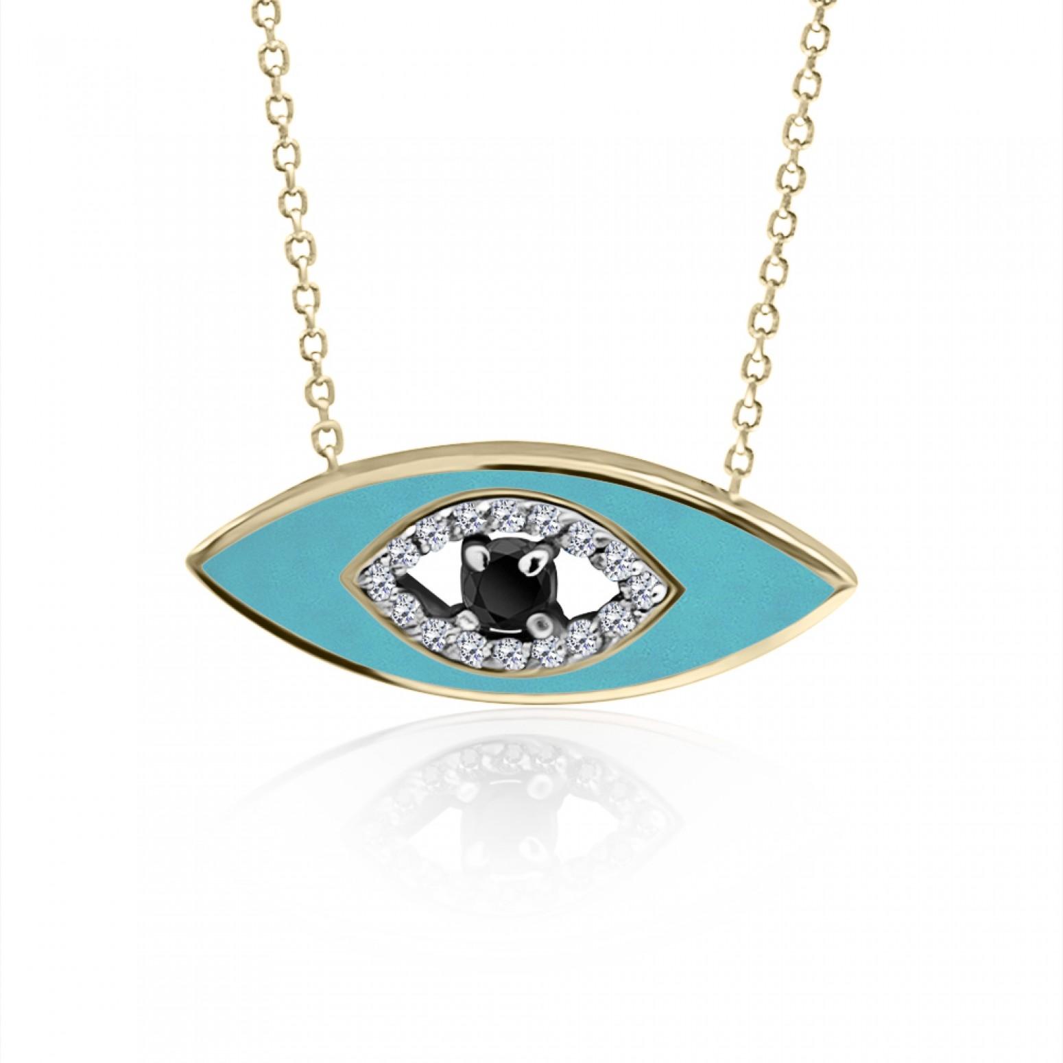 Eye necklace, Κ9 gold with white, black zircon and enamel, ko5024 NECKLACES Κοσμηματα - chrilia.gr
