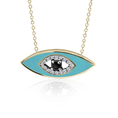 Eye necklace, Κ9 gold with white, black zircon and enamel, ko5024 NECKLACES Κοσμηματα - chrilia.gr