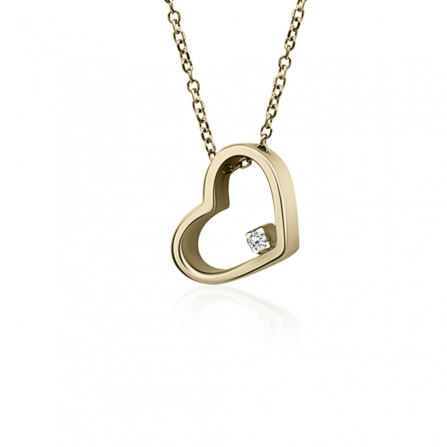 Heart necklace, Κ9 gold with zircon, ko5082 NECKLACES Κοσμηματα - chrilia.gr