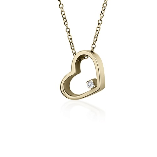 Heart necklace, Κ9 gold with zircon, ko5082