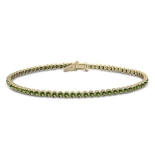 Tennis bracelet,14K gold with green zircon, br2493