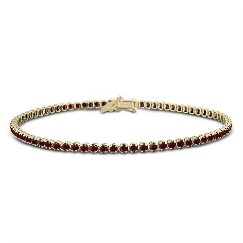 Tennis bracelet,14K gold with red zircon, br2496