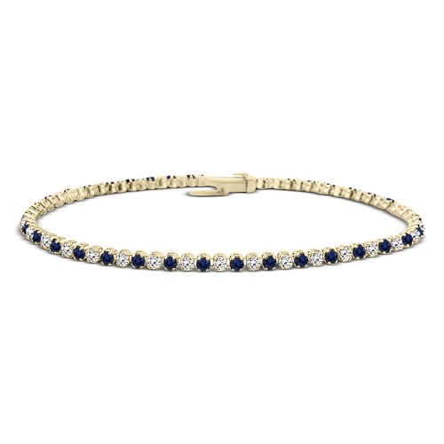 Tennis bracelet,14K gold with blue and white zircon, br2497