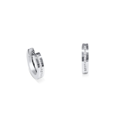 Hoop earrings 18K white gold with diamonds 0.13ct, VS1, G,  sk2684 EARRINGS Κοσμηματα - chrilia.gr