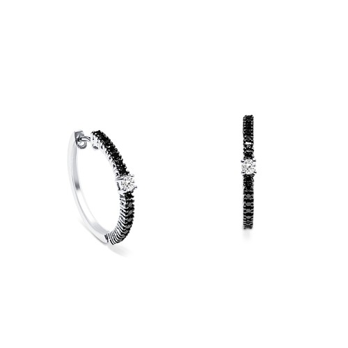 Hoop earrings 18K white gold with diamonds 0.36ct, VS1, G, sk2873 EARRINGS Κοσμηματα - chrilia.gr