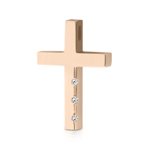 Baptism cross K14 pink gold with zircon st3777 CROSSES Κοσμηματα - chrilia.gr