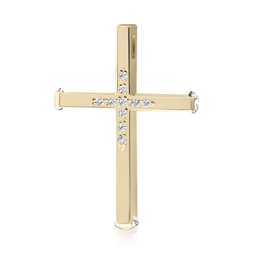 Baptism cross K14 gold with zircon st3813