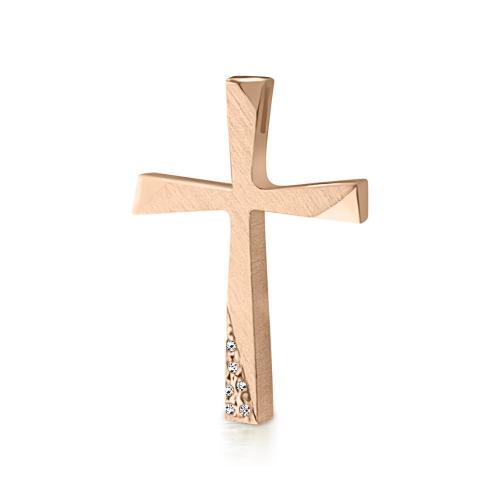 Baptism cross Κ14 pink gold with zircon st3828 CROSSES Κοσμηματα - chrilia.gr