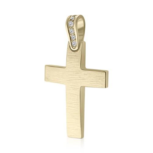 Baptism cross K14 gold with zircon, st3890 CROSSES Κοσμηματα - chrilia.gr